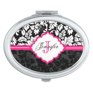 Black White & Pink Vintage Floral Damasks Mirror For Makeup