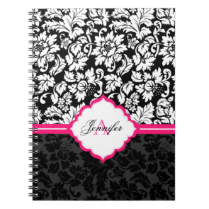 Black White & Pink Vintage Floral Damasks Spiral Note Book
