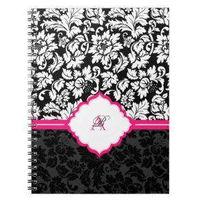 Black White & Pink Vintage Floral Damasks Spiral Note Book