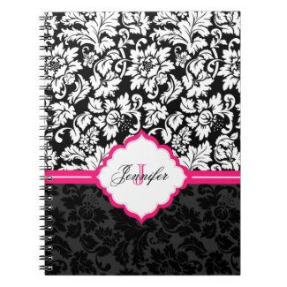 Black White & Pink Vintage Floral Damasks