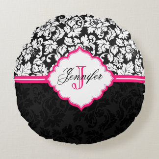 Black White & Pink Vintage Floral Damasks Round Pillow