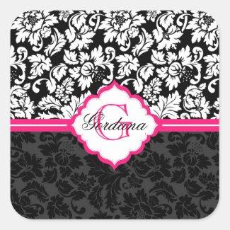 Black White & Pink Vintage Floral Damasks