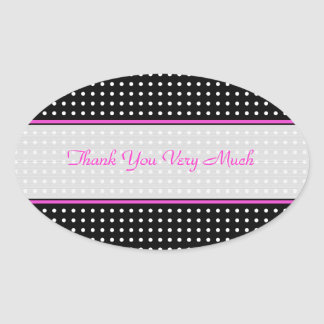 Black White  & Pink Vintage Polka-Dot Pattern Oval Sticker