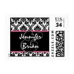 Black White Pink Wedding Bold Damask Stamps