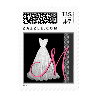 BLACK WHITE PINK Wedding Dress Monogram Postage