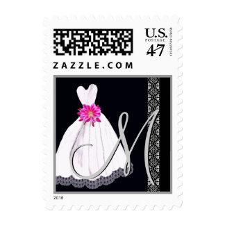 BLACK WHITE PINK Wedding Dress Monogram tamp Postage