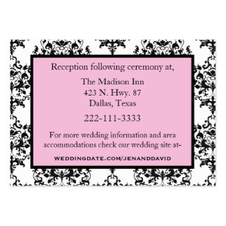 Black, White, & Pink Wedding enclosure cards Business Card Template