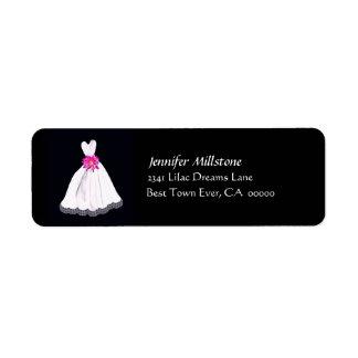BLACK WHITE PINK Wedding Gown Address Label