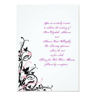 black_white_pink_wedding_invitation_template, Y… Invitación 12,7 X 17,8 Cm
