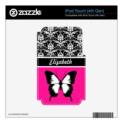 Black & White & Pink with Wings Custom iPod Touch 4G Decals
