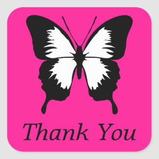 Black & White & Pink with Wings Thank You Square Sticker