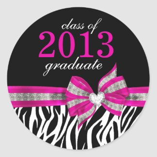 Black White Pink Zebra Graduation Seal Sticker