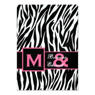 Black White Pink Zebra Premium Metallic Wedding 5x7 Paper Invitation Card