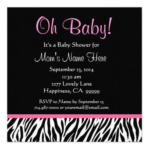 black white pink zebra print baby shower square paper