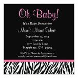 "Black White Pink Zebra Print Baby Shower 5.25"" Square Invitation Card"