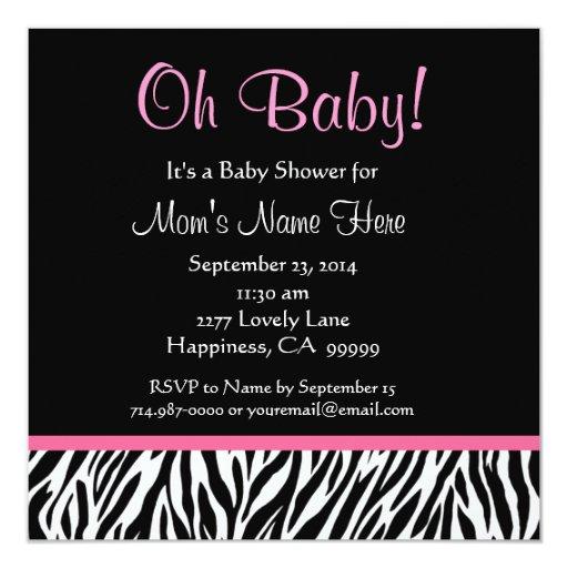 Black White Pink Zebra Print Baby Shower 5.25x5.25 Square Paper Invitation Card