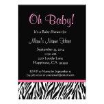 Black White Pink Zebra Print Baby Shower Personalized Invitations
