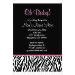Black White Pink Zebra Print Baby Shower V03 Announcements