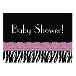 Black White Pink Zebra Print Baby Shower V2 Personalized Invite