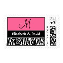 Black White Pink Zebra Print Monogram Wedding Postage
