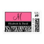 Black White Pink Zebra Print Monogram Wedding Postage Stamp