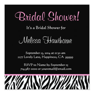 Black White Pink Zebra Print Square Bridal Shower Card