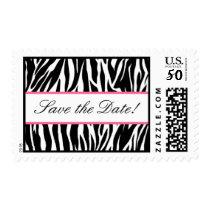 Black White Pink Zebra Save the Date Postage