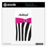 Black White Pink Zebra Stripes iPhone4/4s Skin Decals For The iPhone 4