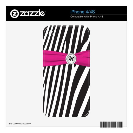 Black White Pink Zebra Stripes iPhone4/4s Skin iPhone 4S Decal