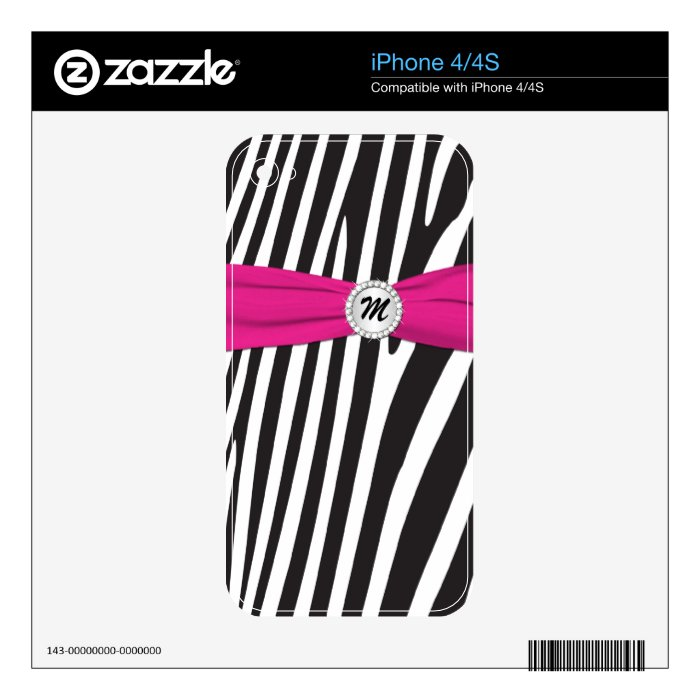 Black White Pink Zebra Stripes iPhone4/4s Skin Decal For iPhone 4