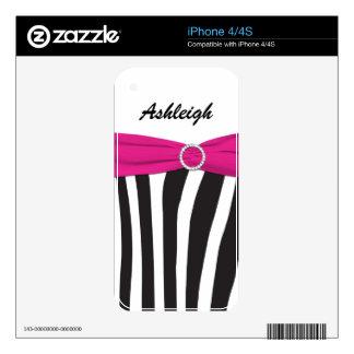 Black White Pink Zebra Stripes iPhone4/4s Skin Skin For iPhone 4S