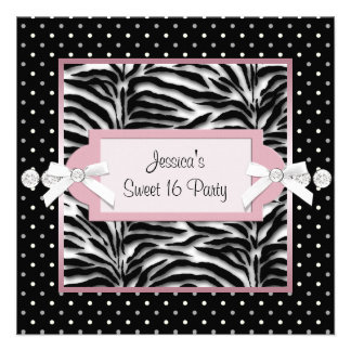Black White Pink Zebra Sweet 16 Birthday Party Personalized Invitations