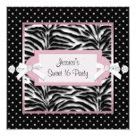 Black White Pink Zebra Sweet 16 Birthday Party Personalized Invitations