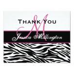 Black White Pink Zebra Thank You Card Custom Invitations