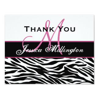 "Black White Pink Zebra Thank You Card 4.25"" X 5.5"" Invitation Card"