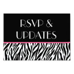 "Black White Pink Zebra Website RSVP and Info Cards 3.5"" X 5"" Invitation Card"