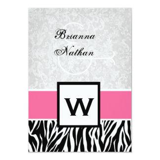 Black White Pink Zebra Wedding 5x7 Paper Invitation Card