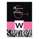 Black White Pink Zebra Wedding Invitations