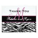 Black White Pink Zebra Wedding Thank You Card Announcements