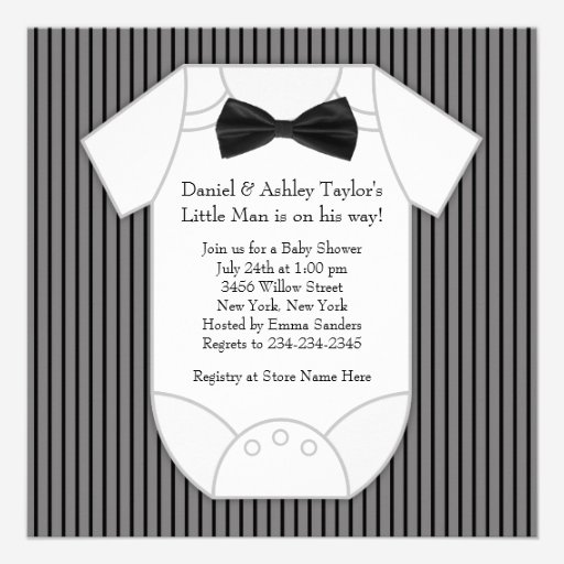 Black White Pinstripe Baby Boy Shower Personalized Announcement