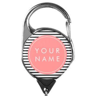 Black & White Pinstripe Coral Pink Name Badge Holder