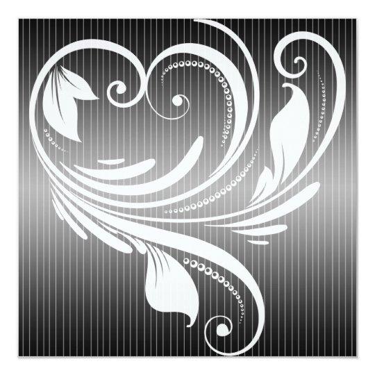 Black White Pinstripe Heart Wedding Anniversary Card