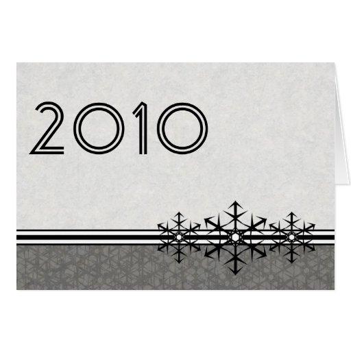 Black White Pinstripe New Year's Snowflake Card