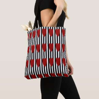 BLACK/WHITE PINSTRIPE RED HEART TOTE BAG