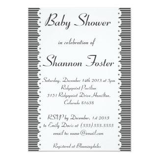 Black & White Pinstripes Baby Shower Invitation
