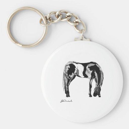 Black white pinto horse basic round button keychain