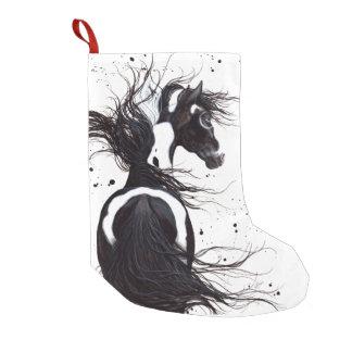 Black White Pinto Paint Horse Christmas Stocking Small Christmas Stocking