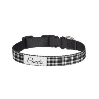 Black & White Plaids Personalized Pet Collar
