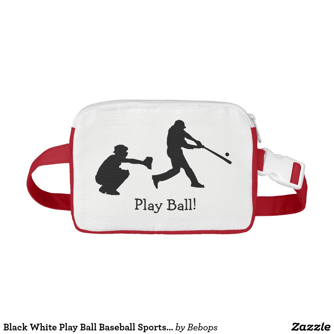 Black White Play Ball Baseball Sports Fanny Pack