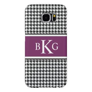 Black White Plum Houndstooth Pattern Monogram Samsung Galaxy S6 Case